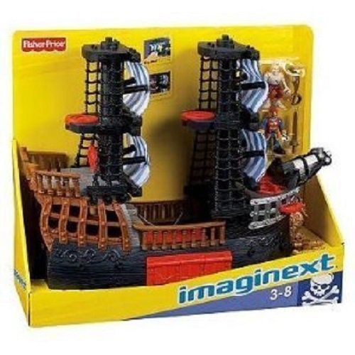 Black And Red Pirate Ship With 2 Figures