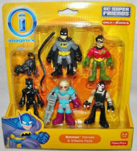 Imaginext Dc Super Friends - Batman Heroes And Villains Pack With Batman Robin Catwoman Mr. Freeze And Bane